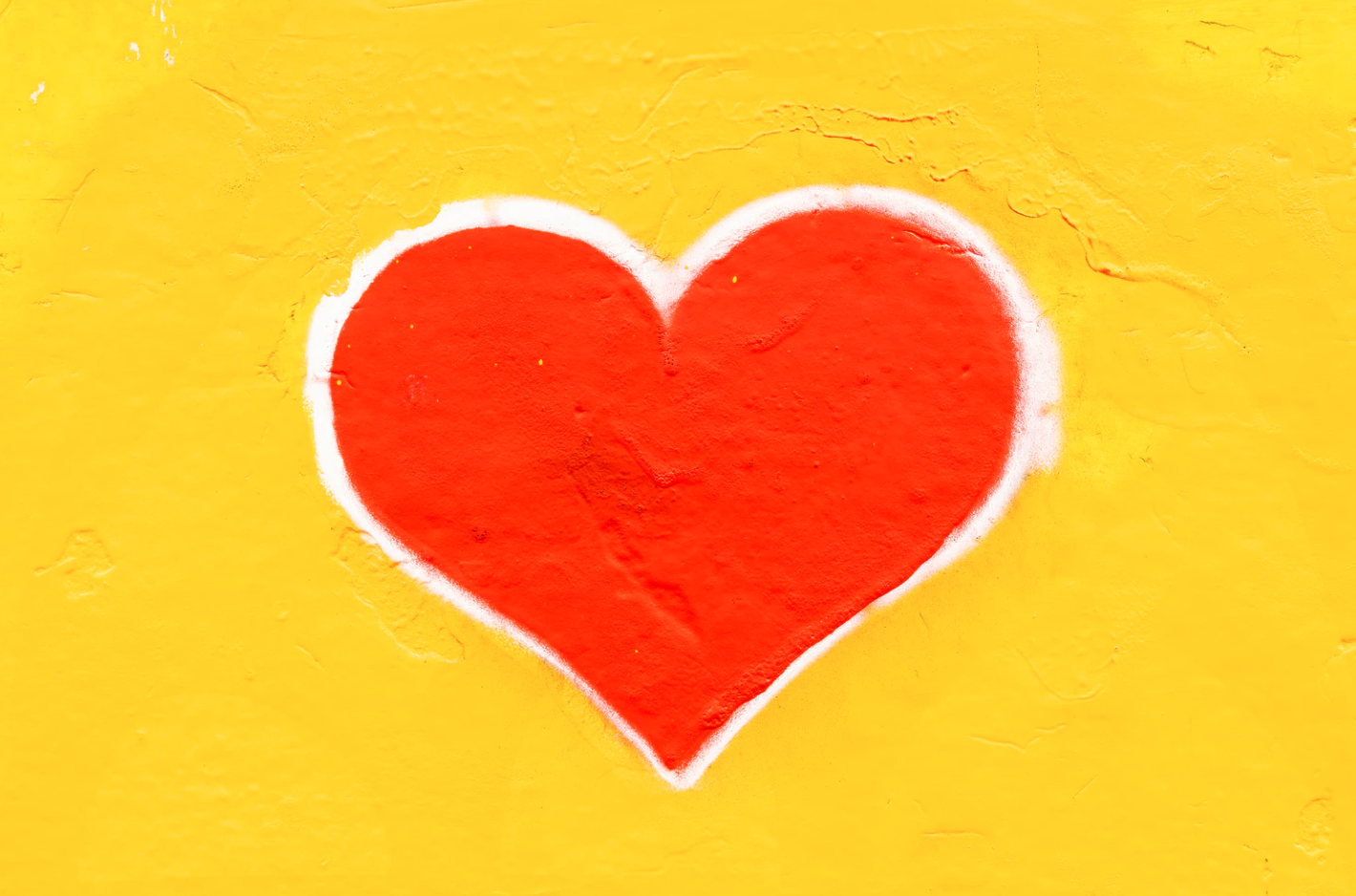 red heart on yellow
